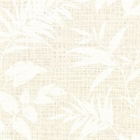 Chandler White Botanical Faux Grasscloth Wallpaper