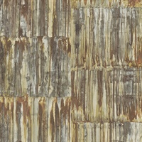 Patina Brass Faux Metal Panels Wallpaper