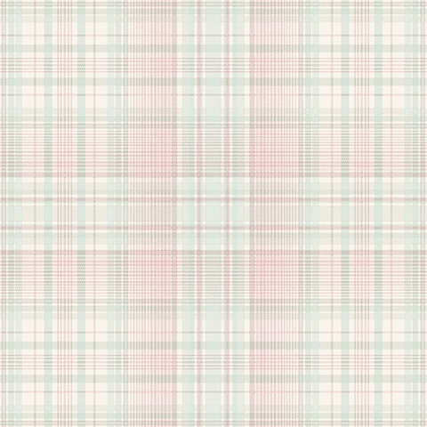 Check Plaid Wallpaper in Turquoise, Pink & Cream