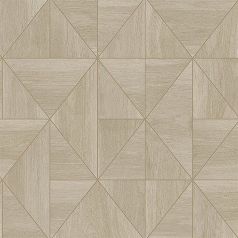 Cheverny Beige Geometric Wood Wallpaper