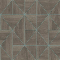 Cheverny Brown Wood Tile Wallpaper