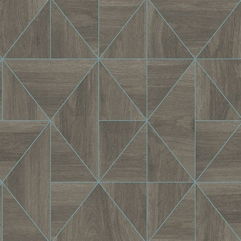 Cheverny Coffee Geometric Wood Wallpaper