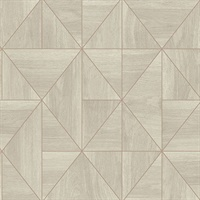 Cheverny Cream Geometric Wood Wallpaper