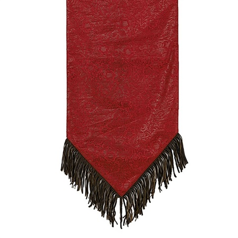 Charmant Cheyenne Red Faux Leather Table Runner, WS4001R OS RD | TotalWallcovering