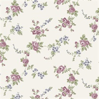 Chic Rose Wallpaper in Plum, Burgundy, Rose, Greys & Blue