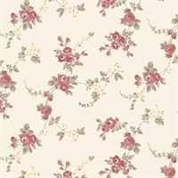 Chic Rose Wallpaper in Red, Cream & Brown