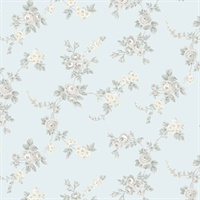 Chic Rose Wallpaper in Turquoise, Greys & Yellow