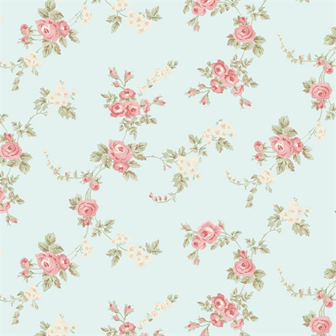 Chic Rose Wallpaper in Turquoise, Rose, Red & Green