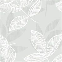 Chimera Silver Flocked Leaf Wallpaper