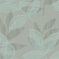 Chimera Turquoise Flocked Leaf Wallpaper
