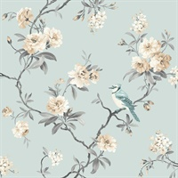 Chinoiserie Blue Floral Wallpaper