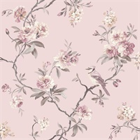 Chinoiserie Pink Floral Wallpaper
