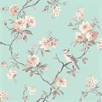 Chinoiserie Seafoam Floral Wallpaper