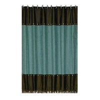 Chyenne Turquoise Faux Tooled LeatherShower Curtain
