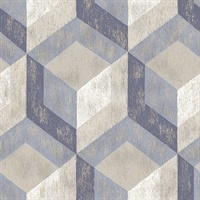 Clarabelle Blue Rustic Wood Tile Wallpaper