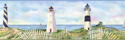 Bbc46071b Coastal Lighthouse Border Total Wallcovering