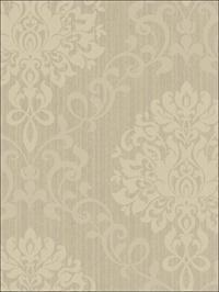 Como Damask Beige on Gray Metallic Ink