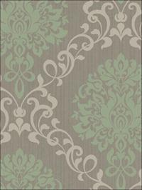 Como Damask Green on Gray Metallic Ink