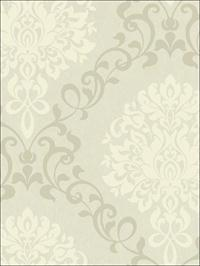 Como Damask White on Beige Metallic Ink