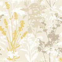 Conant Light Yellow Wild Flowers Wallpaper