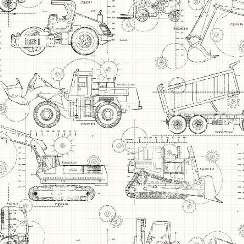 Ks2349 black and white construction blueprint wallpaper construction blueprint malvernweather Images