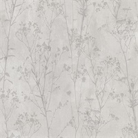 Cordelia Light Grey Floral Silhouettes Wallpaper
