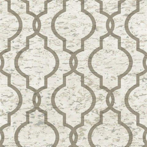 Cork Effect Trellis Beige Wallpaper