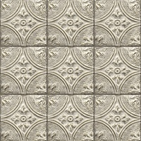 Cornelius Grey Tin Celing Tile Wallpaper