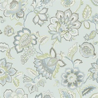 Corona Light Blue Jacobean Wallpaper