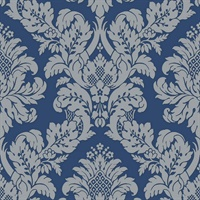 Damask Blue/Silver Glitter Wallpaper