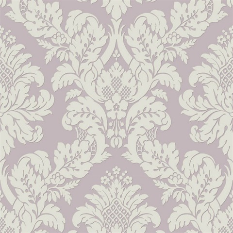 Damask Lilac/White Glitter Wallpaper