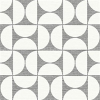 Deedee Black Geometric Faux Grasscloth Wallpaper