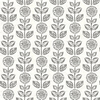 Dolly Dark Brown Folk Floral Wallpaper