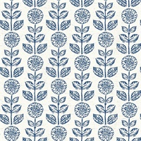 Dolly Navy Folk Floral Wallpaper