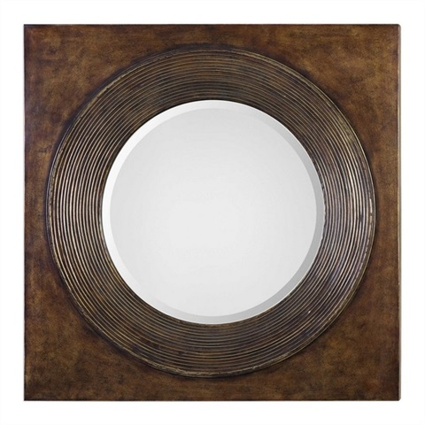 Eason Golden Bronze Round Mirror