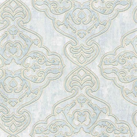 2768 3205 Elena Light Blue Damask Wallpaper Total Wallcovering