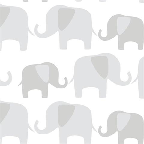 Nu1405 Grey Elephant Parade Peel Stick Wallpaper By Nuwallpaper