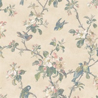 Eloisa Beige Floral Scroll