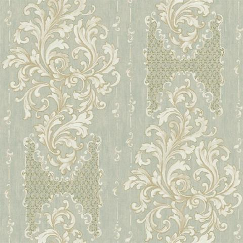 Bq3827 Green And Gold Embroidered Damask Stripe Wallpaper
