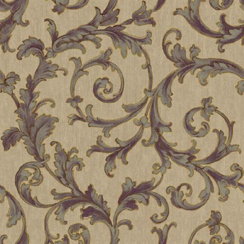 Bq3823 Purple And Gold Embroidered Scroll Wallpaper