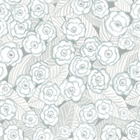 Emery Light Blue Floral Wallpaper