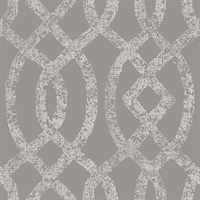 Ethereal Grey Trellis Wallpaper