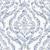 Featherton Blue Floral Damask Wallpaper