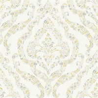 Featherton Mustard Floral Damask Wallpaper