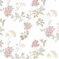 Fern Floral Wallpaper in Pink, Khaki, Grey & Blush