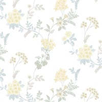 Fern Floral Wallpaper in Turquoise, Yellow  & Blue