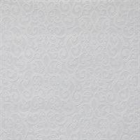 Flared Scroll Paintable Wallpaper - White