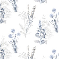 Flora Wallpaper in Blues & Greys