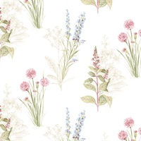Flora Wallpaper in Cream, Blues & Pink