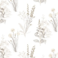 Flora Wallpaper in Grey, Sepia & Beige